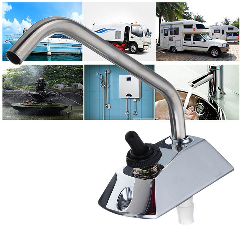 Kitchen Faucets Alloy Metal Base And Stainless Steel Swing Spout 360 Degree Rotation Suits Boats Caravans RV Water Mixer Tap