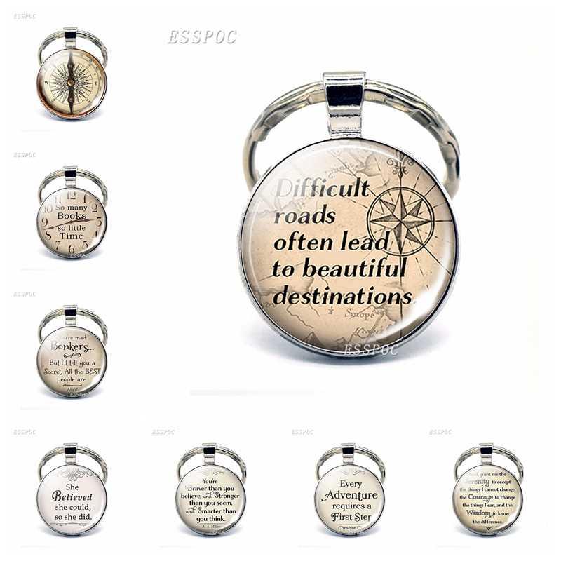 Compasso do vintage Inspirado Cabochon Vidro Citação Keychain Bag Pingente Car Chaveiro Keyfob Presente Jóias Feitas À Mão Acessórios