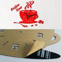 3D DIY Acrylic Wall Clock Modern for Kitchen Home Decor Coffee Time Clock Cup Shape Wall Sticker Hollow Numeral Clock DA405