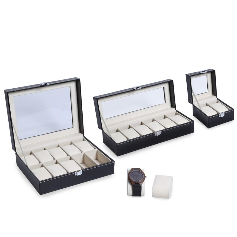2 6 10 Grids PU Leather Watch Box Case High-end Watch Case PU Watch Display Box Gift Box Transparent Cover Watch
