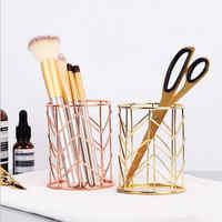 2 couleurs fer maquillage boîte de rangement maquillage organisateur cylindrique étui de rangement rouge à lèvres porte-stylo pinceau rangement maquillage