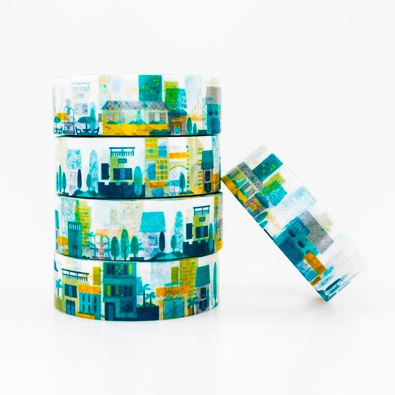 Glamour City Pattern Washi Masking Tape Sticky Color Decorative Tape Set DIY Decoration Office Stationery Scrapbook 1PCS