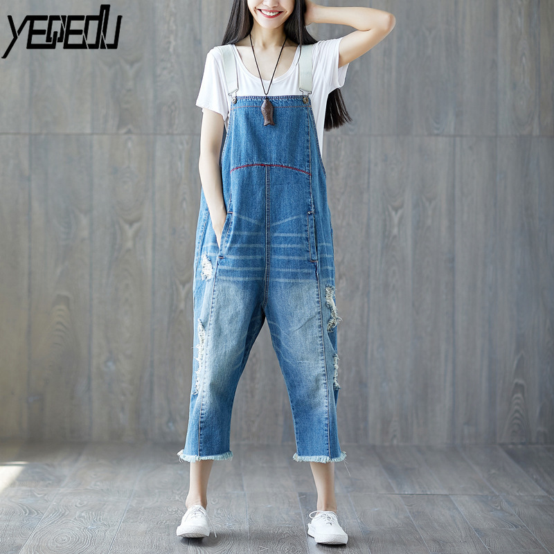 #0323 Denim Overalls For Women Adjust Strap Loose Wide Leg Vintage Distressed Denim Jumpsuit Romper Loose Plus Size Tassel Holes