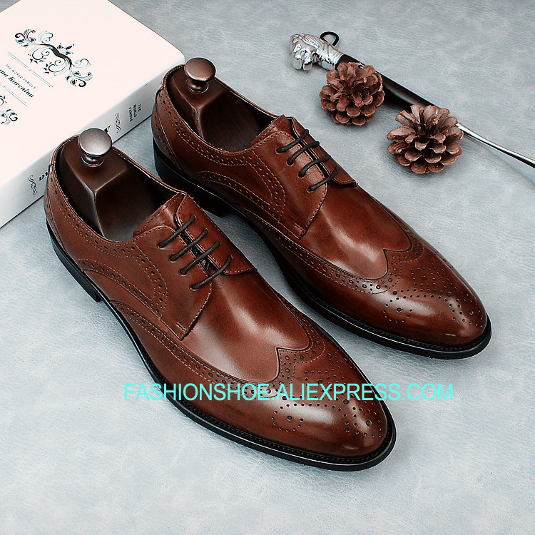 Formal Dress Shoes Full Grain Leather Mans Wedding Party Oxfords Carved Brogue Man Shoes цена и фото
