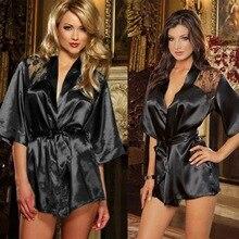 OLO Babydolls Sexy Lingerie Sleepwear Erotic Underwear Exotic Apparel Black Lace Robe Sexy Night Gown Intimate