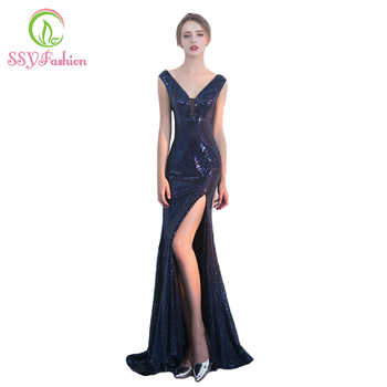 SSYFashion Sexy Slim Mermaid Evening Dress Deep V Collar Sequins High Slit Sleeveless Fishtail Prom Party Gown Reflective Dress - SALE ITEM Weddings & Events
