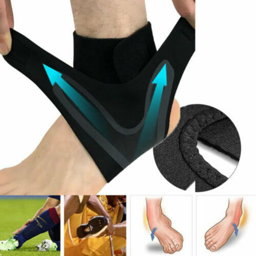 Men's Black Adjustable Ankle Foot Support Elastic Brace Guard Football Basketball Protection