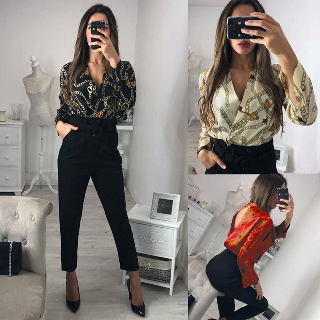 Women Casual V-neck Warp Front Floral Long Sleeve Print Rompers Spring, Summer, Autumn Short   Jumpsuit