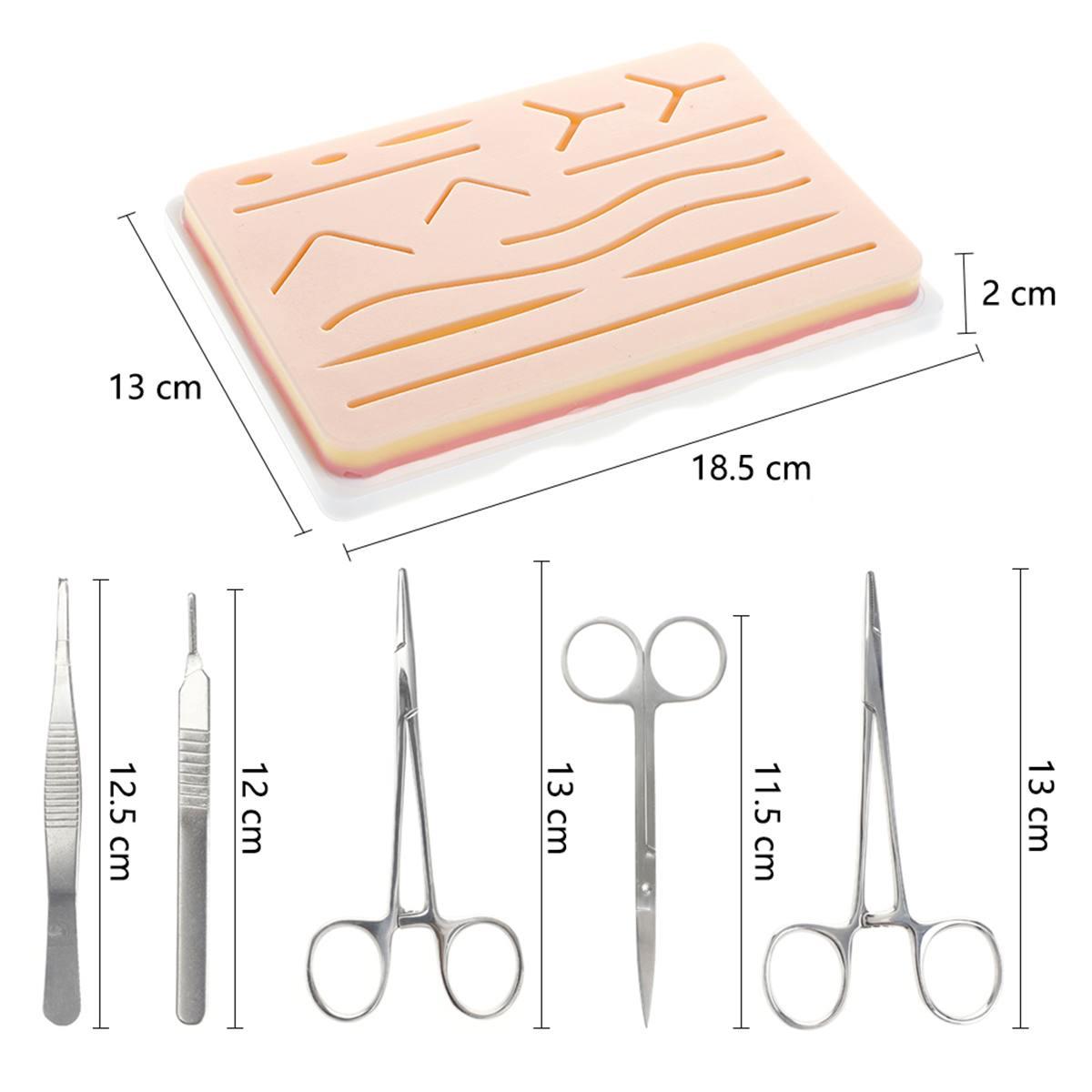 25 en 1 Kit de formation chirurgicale de Suture de peau médicale Silicone Pad aiguille ciseaux doux facile à utiliser Silicone + acier inoxydable - 2