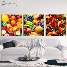 3 Piece Kitchen Fruit Combined Poster Prints Oil Painting On Canvas Wall Art Murals Pictures For Living Room Decoration No Frame