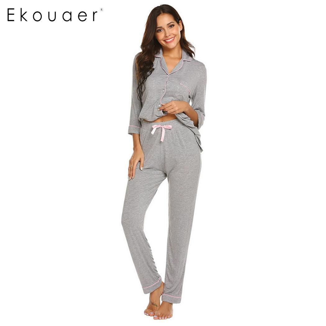 Ekouaer   Pajama     Sets   Women Casual Sleepwear Solid Three Quarter Sleeve Shirts Top Long Pants   Pajama     Sets   Soft Home Wear Suits
