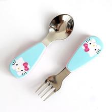 Kids Spoon Children Stainless Steel Fork Case Portable Safety Baby Feeding Utensils Training Dinnerware 2pcs/ Set