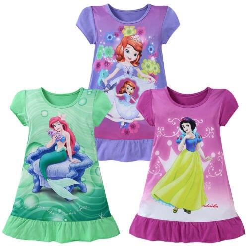 4-10Y sirena princesa Ariel vestido historieta del verano de manga corta partido nieve blanca Sofía niños vestir traje fantasía vestido