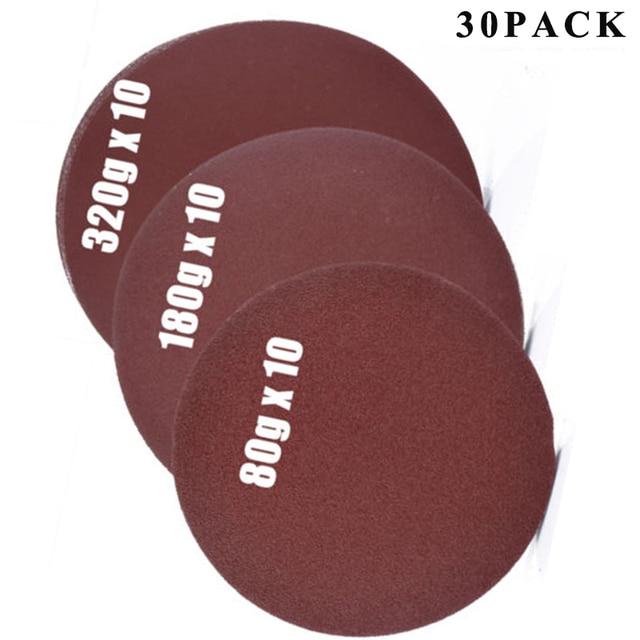 30 шт 6 150 мм зернистости 80 180 320 песок полировка бумаги шлифовальные диски Самостоятельная Наклейка круглая песок Бумага