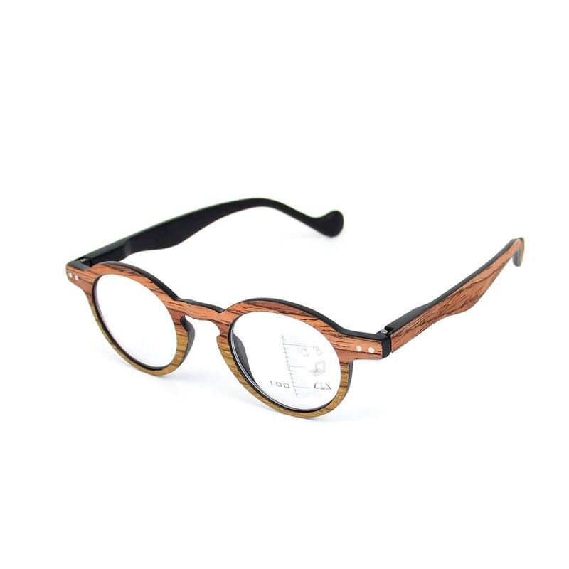 Zilead Retro Wood Small Round Frame Dual Reading Glasses Multifocal Clear Lens Presbyopic Glasses Eyeglass oculos gafas Unisex