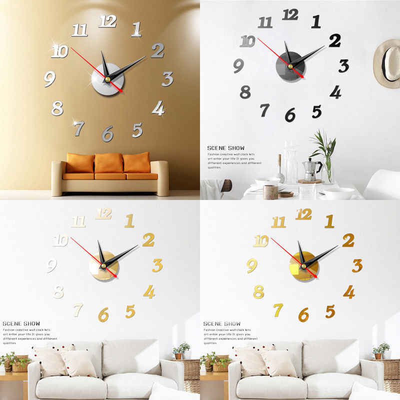 detail feedback questions about modern diy wall clock 3d mirror