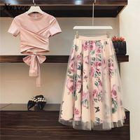 Women Flower Pring Mesh skirt and Cotton Irregular T shirt Casual 2 Piece Set Bowknot Pink Crop Tops Floral Mid clf Skirt Sets