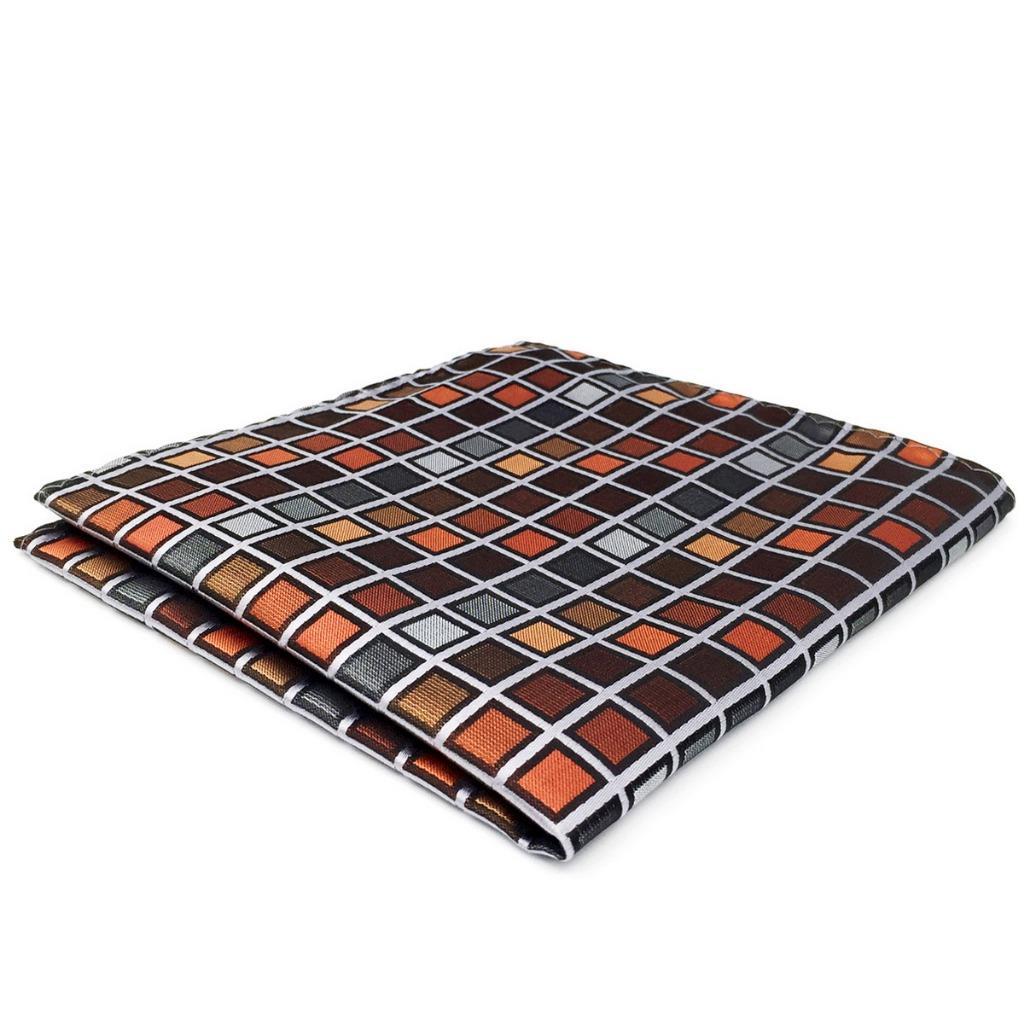 CH10 Brand New Mens Pocket Square Orange Multicolor Checked Silk Hanky Fashion Classic Wedding Handkerchief