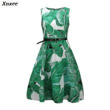 Xnxee Vintage Spring Summer Dress Women 2018 Casual Sleeveless Floral Party Female Sexy Slim Elegant 2XL