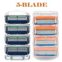 Сменные лезвия для бритвы для Для мужчин 5 слой уход за лицом бритвы кассеты бритья лезвия, совместимые с gillettee fusione