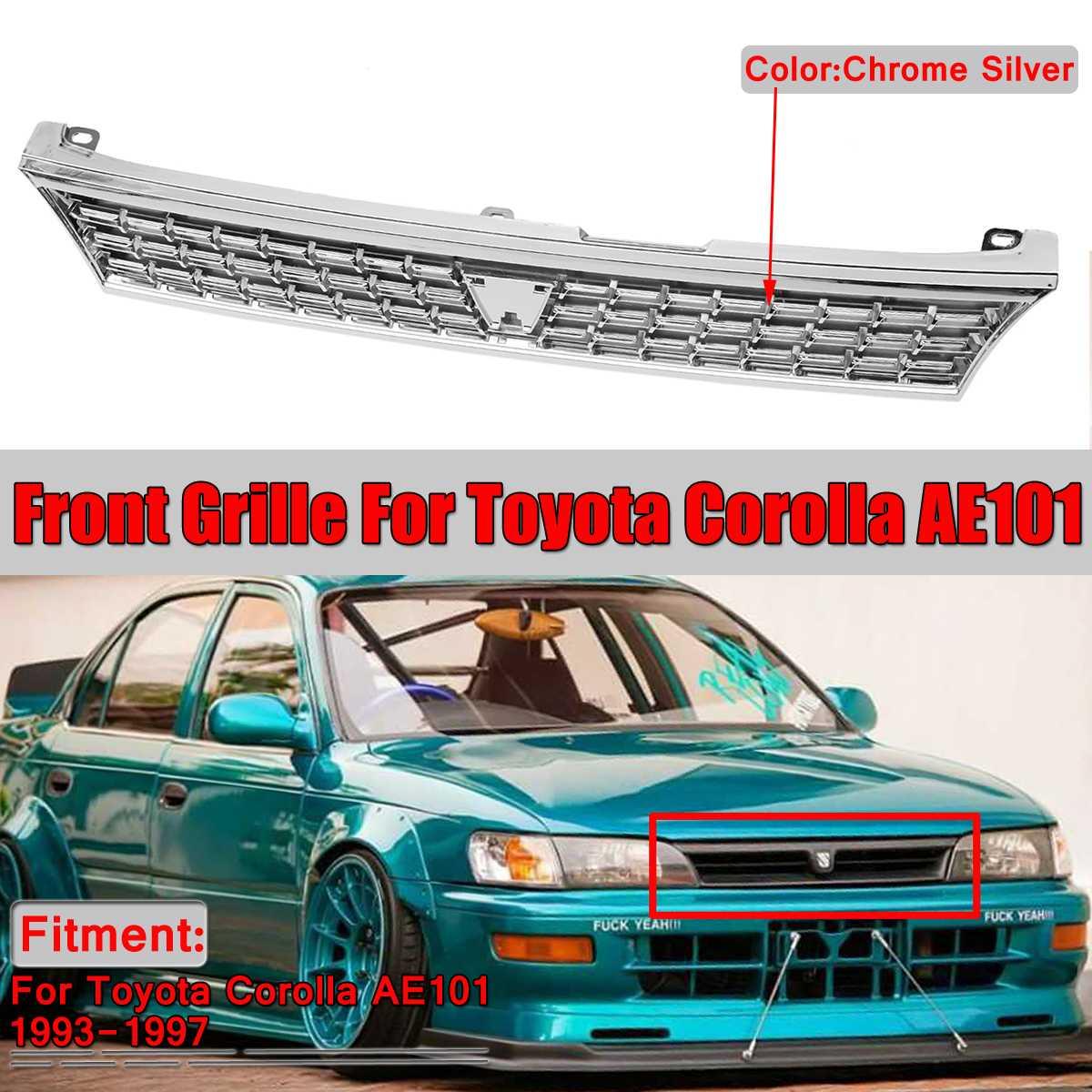 Grilles de course Chrome argent voiture avant Center supérieur pare-chocs maille Grille Grille pour Toyota Corolla AE101 1993-1997 sans emblème