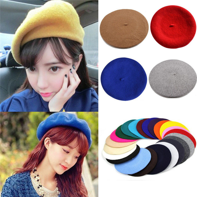 French Style Slouchy Wool Felt Beret Women Fashion British Chic Girls Beret Hat Lady Solid Color Winter Hats Women Dropshipping