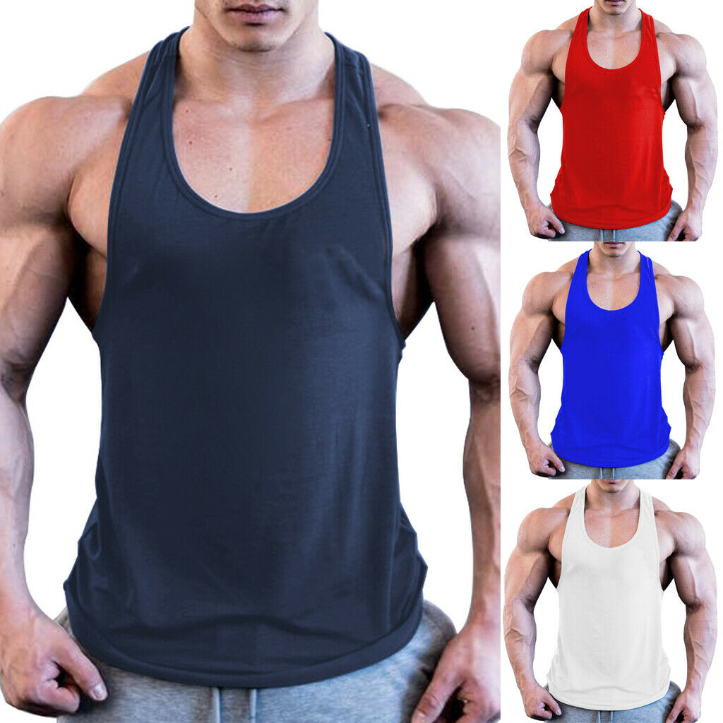 HUALA Mans Casual Solid Color Crew Neck We Can Do It Fitness Vest T Shirts