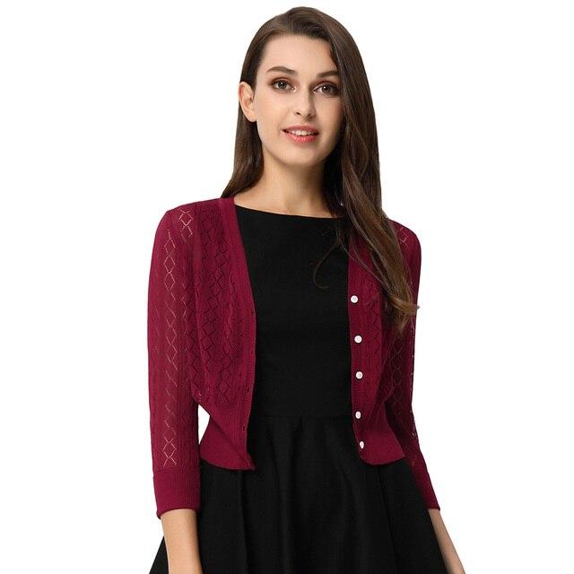 Nuevo elegante cardigan abrigo mujer primavera otoño calado patrón ...