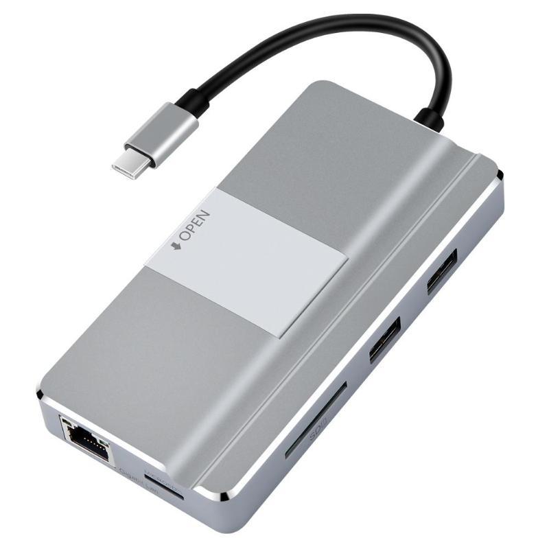 YC217 moyeu USB haute vitesse Type C vers HDMI USB3.0 RJ45 TF adaptateur de lecteur de carte Micro SD pour MacBook