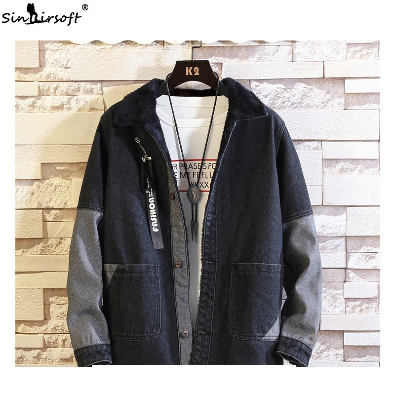 High Street Denim Patchwork Long Sleeve Jacket Men Loose Hip Hop Streetwear Trousers 2019 Spring Fashion Denim Jeans Coat Male in Jackets from Men 39 s Clothing