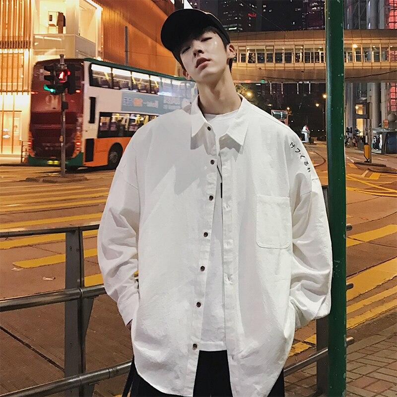 2019 Verano Coreano Juvenil Suelta Casual Algodón Bordado Color Sólido Letra Solapa Camisa De Manga Larga Hombre M-2XL