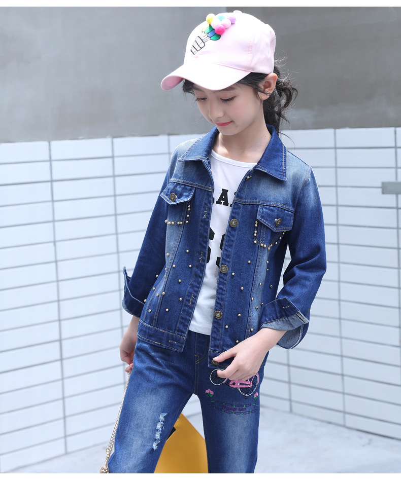 Kids Clothes Girls Sets Spring Autumn 2019 Girl Long Sleeve Outfits Children Clothing Denim Cartoon Jacket+ Pants Two-piece SuitKids Clothes Girls Sets Spring Autumn 2019 Girl Long Sleeve Outfits Children Clothing Denim Cartoon Jacket+ Pants Two-piece Suit