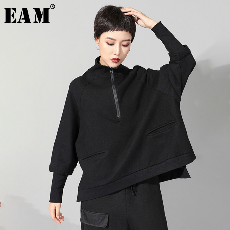 [EAM] 2020 New Spring Autumn Stand Collar Long Sleeve Black Zipper Split Joint Big Size Sweatshirt Women Fashion Tide JQ021