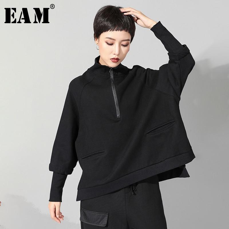 [EAM] 2020 New Spring Autumn Stand Collar Long Sleeve Black Zipper Split Joint Big Size Sweatshirt Women Fashion Tide JQ021
