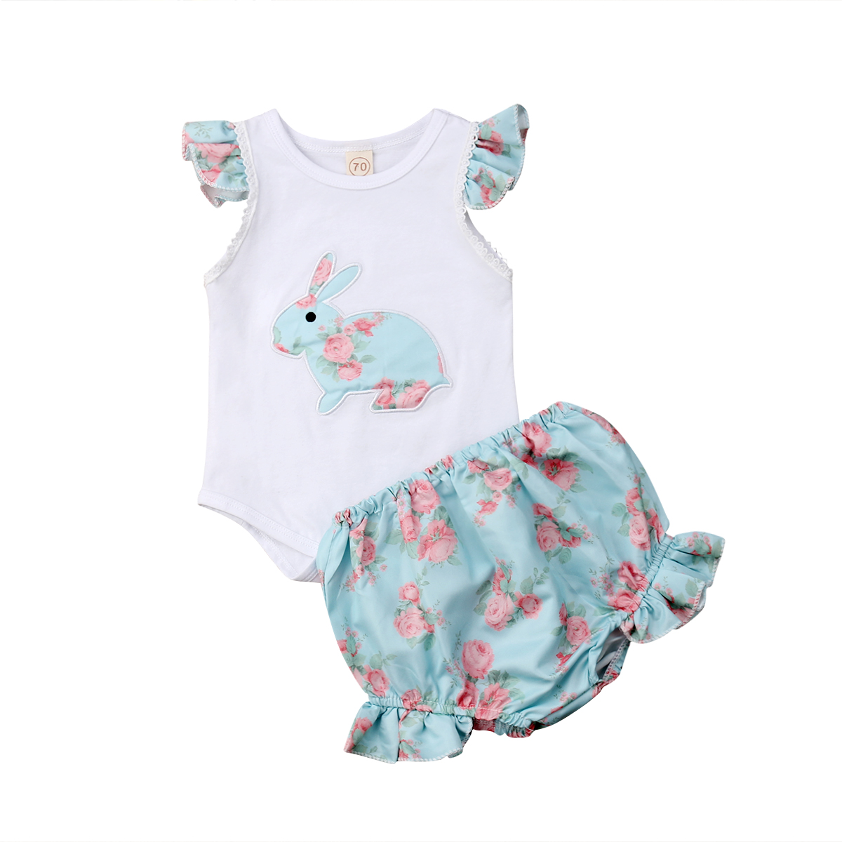 4aeb366f5d87 Newborn Infant Baby Girl Easter Outfit Ruffle Sleeveless Bunny Romper  Cotton Tops+Floral Tutu Shorts Girls 2Pcs Clothes Set