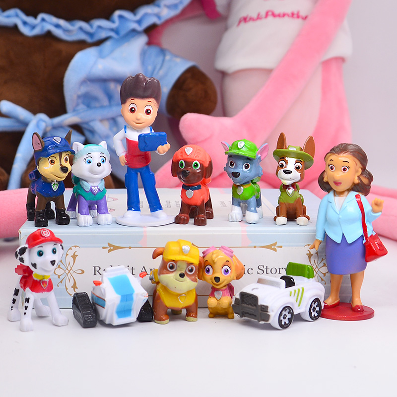 12pcs Paw Patrol Patrulla Canina 3-10cm Anime figure Action Figures puppy patrol Car Toy Patroling Canine Toys for Children D08