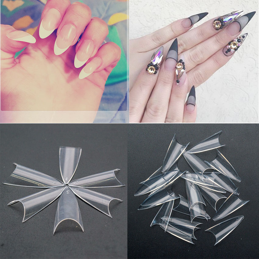 100PCS Clear Nail Tips Natural/White Stiletto Nails French Artificial False Nail Tips Design Nail Art Decoration JZJ3011