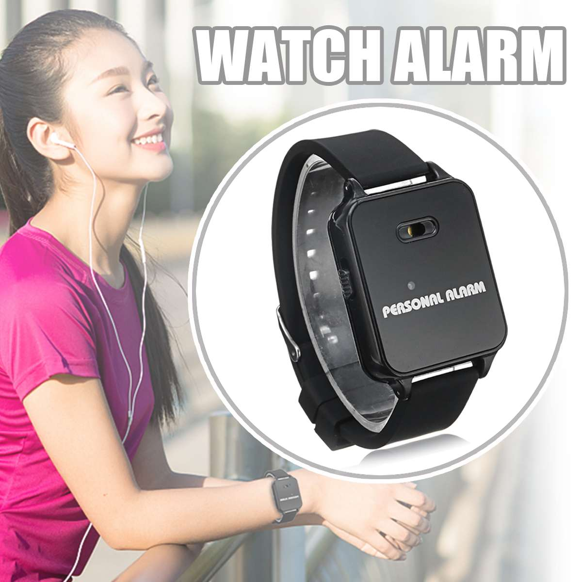 120DB Self Security Protection Personal Alarm Watch Running Rescuer Outdoor Women Anti-wolf Kids Elder Anti-lost Device Alarm