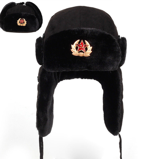 2019 Men Women Bomber Hats Warm Winter Hat Soviet Russian Soldier Army Hat  Ushanka Badge Cap 8d3c37d3b612