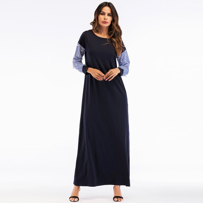 Casual Womens Plaid Maxi Dress Beading Loose Muslim Abaya -2043