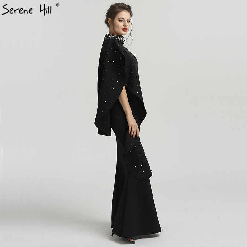 최신 디자인 블랙 높은 목 인 어 공주 이브닝 드레스 2020 우아한 진주 민소매 긴 공식적인 드레스 고요한 힐 qa8024