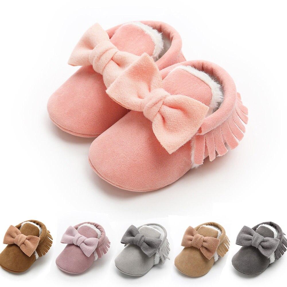 Toddler Baby Girls Boots Newborn Winter Warm Plush Prewalker Shoes Soft Sole Princess Girls Crib Shoes With Big Bow 0-18M