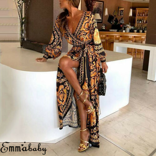Fashion Women Floral Print Split Vintage Long Sleeve Boho Yellow Long Maxi Dress Evening Party Beach Dresses Summer Sundress