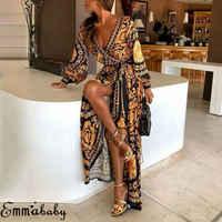 Fashion Women Floral Print Split Vintage Long Sleeve Boho Yellow Long Maxi Dress Evening Party Beach Dresses Summer Sundress