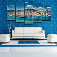 Wall Art Canvas Paintings Living Room Home Decor Framework 5 Pieces Seaside Town Landscape Pictures For Modern on Print
