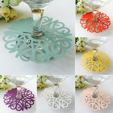 50pcs/set Wedding Table Decoration Place Cards Laser Cut Heart Floral Wine Glass For Party