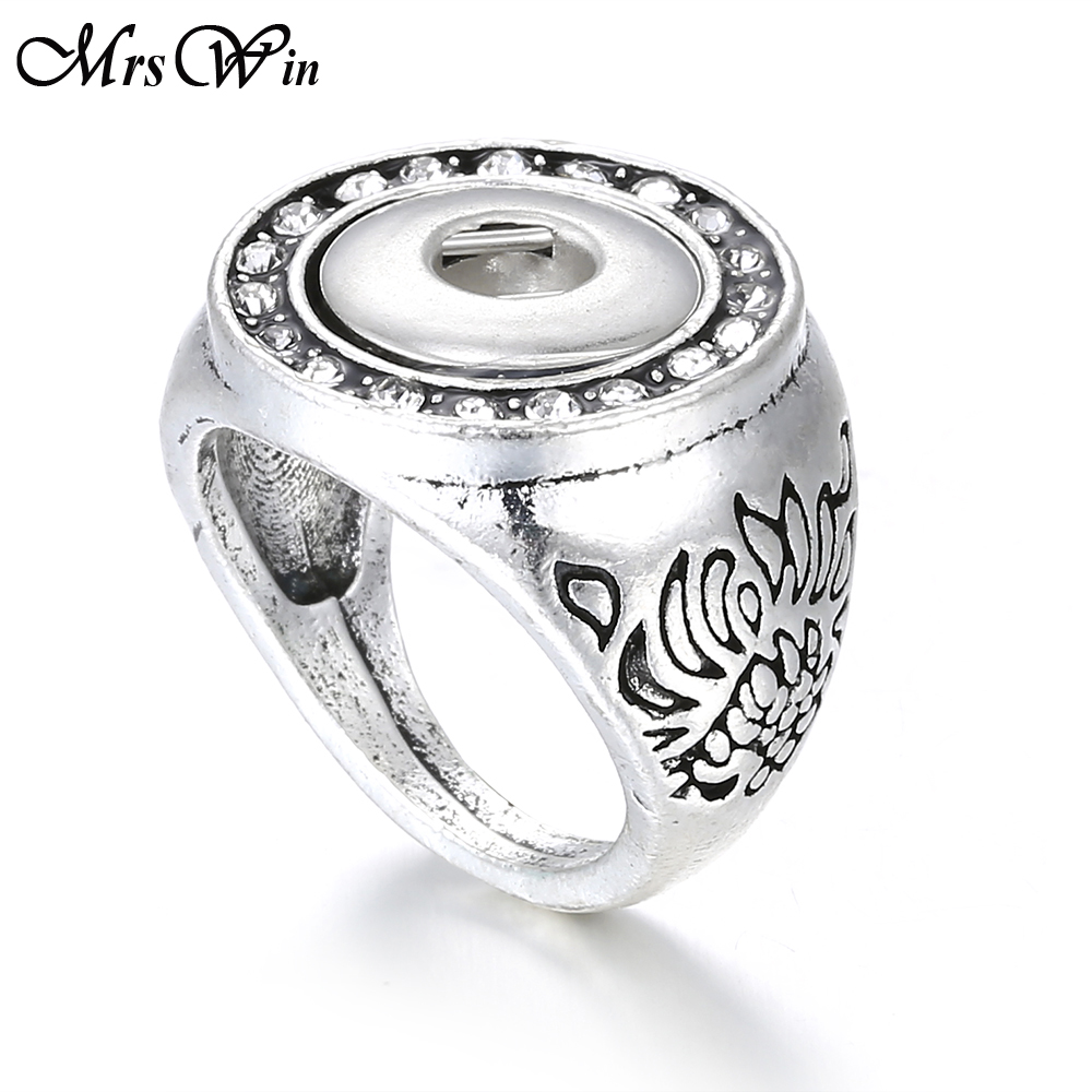 2019 New Snap Jewelry Vintage Metal 12mm Snap Button Ring DIY Snap Mini Button Interchangeable Rings for Women Men Rings image