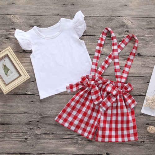 2 piezas conjunto infantil bebé niñas volantes blanco camiseta Tops + mono rojo a cuadros pantalones cortos de verano para niños trajes