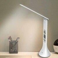 LED 데스크 램프 Foldable 디 밍이 가능한 터치 타입 테이블 램프 달력 온도 알람 시계 테이블 라이트 야간 조명