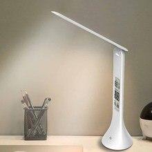 LED masa lambası katlanabilir dim dokunmatik tip masa lambası ile takvim sıcaklık çalar saat masa lambası gece işıkları